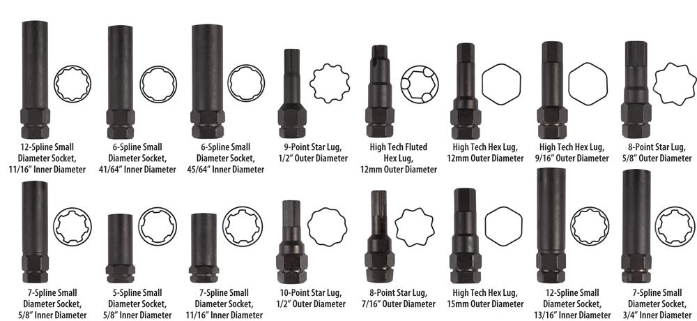 Wt 3157 Locking Lug Nut Master Key Set 16pc Force Tools