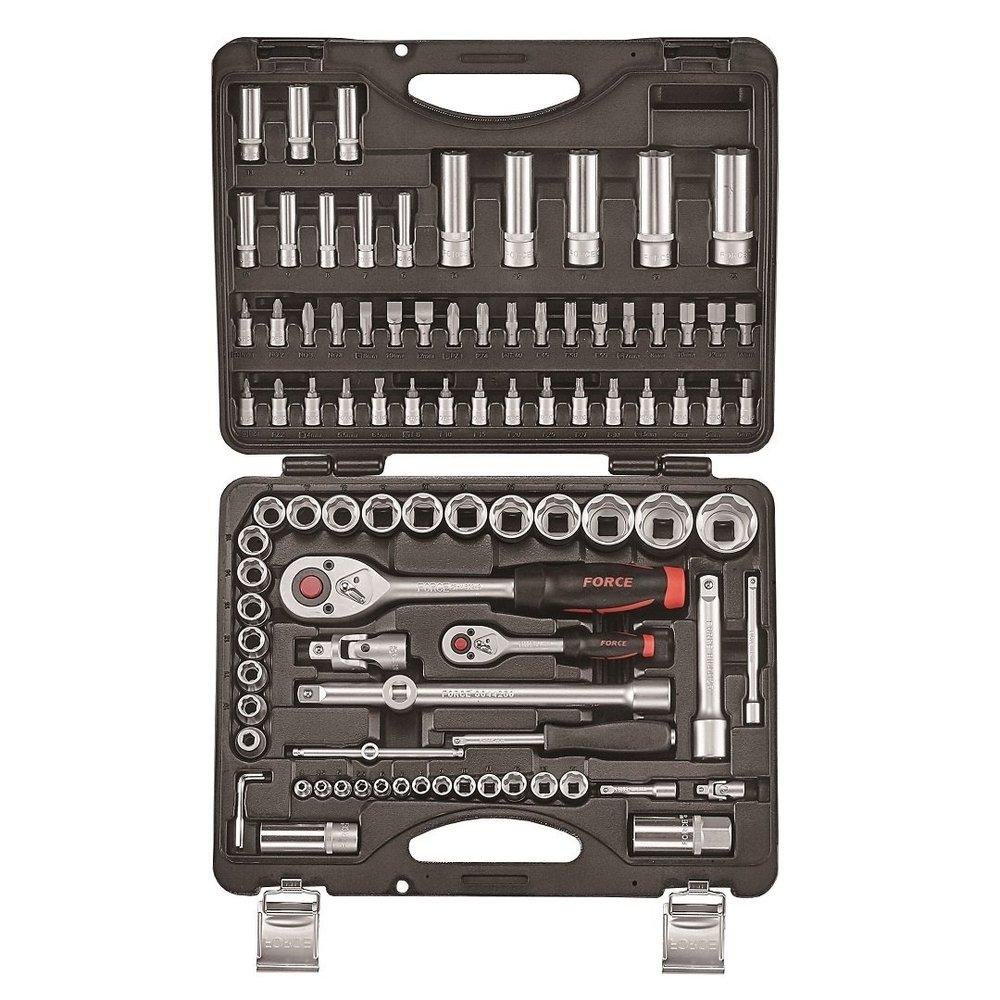 """52 PC Socket Set 1//2/"""" 3//8/"""" 1//4/"""" 2 Ratchets 45 Sockets Extension Adapter Spinner"""